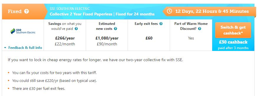 2 Year Fixed Tariff Example With Cashback