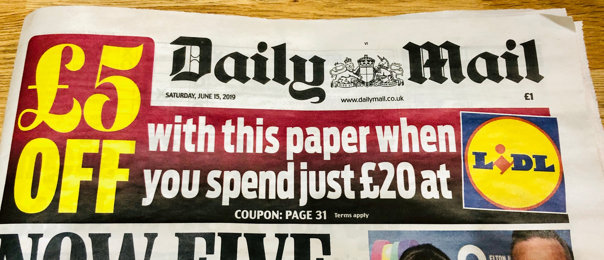 Newspaper £5 off Lidl Coupon