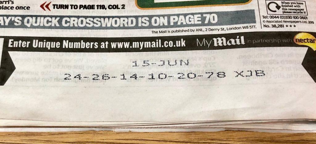 Daily Mail Unique Number