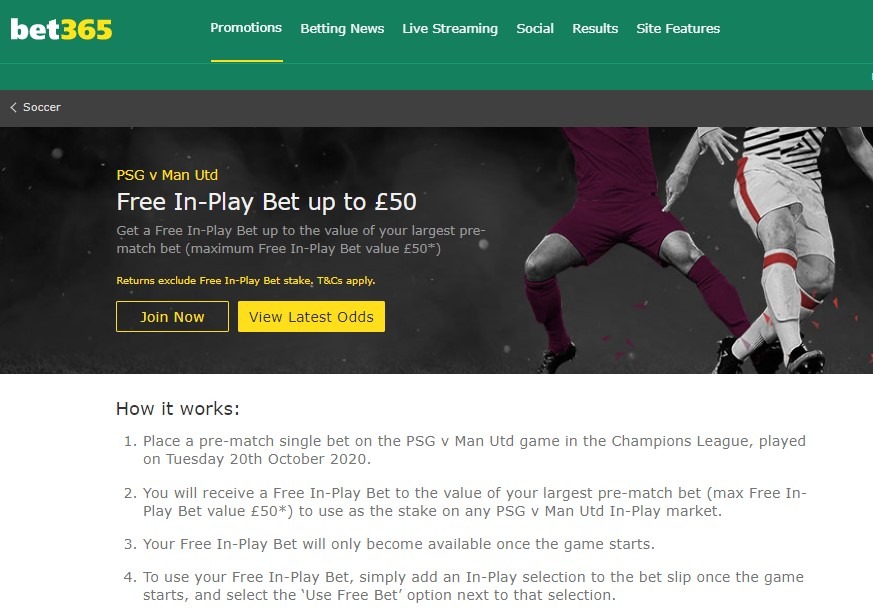 Bet365 Free Bets Offer