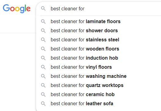 Google Search Suggestions for blog post ideas
