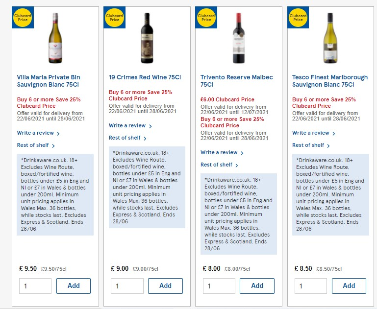 Examples of 25% Off 6 Bottles of Tesco Wine